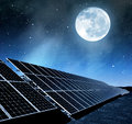 Solar energy panels in night Royalty Free Stock Photography