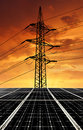 Solar energy panels power line sunset Royalty Free Stock Photography
