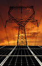 Solar energy panels with power line in the sunset Royalty Free Stock Images