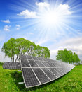 Solar energy panels in spring landscape Stock Photo