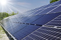 Solar energy power plant using renewable with sun Stock Photos