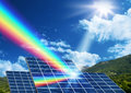 Solar energy renewable energy concept panel collector reflecting sunlight spectrum Stock Image