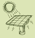 Solar Energy Sketch Vector Ill...