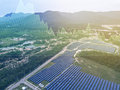 Solar farm background with investment market stock double exposu Royalty Free Stock Photo