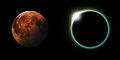 Solar and lunar eclipses a total eclipse side by side Stock Photography