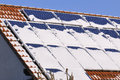 Solar modules with snow in winter Stock Photography