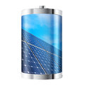 Solar panel battery containing panels against blue sky Royalty Free Stock Photos