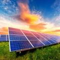 Solar panel on beautiful orange sundown background Royalty Free Stock Photo