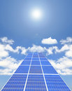 Solar Panel with blue sky ,white cloud and sun Royalty Free Stock Photo