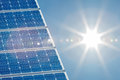 Solar panel with a bright sun on the right side Royalty Free Stock Photo