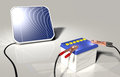 Solar panel charges a car battery squared illuminated by sunlight is charging with two terminals connected on the poles positive Royalty Free Stock Photo