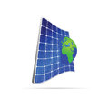 Solar panel with earth color vector on white Stock Photography