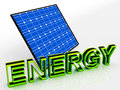 Solar panel and energy word shows alternative showing energies Royalty Free Stock Image