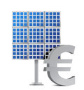 Solar panel and euro sign Royalty Free Stock Image