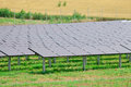 Solar panel on the field electric power plant alternative energy Royalty Free Stock Photo