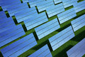 Solar panel on grass field Royalty Free Stock Photos