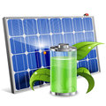 Solar panel green energy concept with battery and young sprout vector on white background Stock Photo
