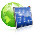 Solar panel green energy concept with and earth vector on white background Stock Photos