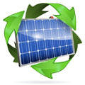 Solar panel green energy concept with and recycling symbol vector on white background Stock Photography