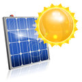 Solar panel green energy concept with and sun vector on white background Stock Photo