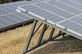 Solar panel grids at an energy conversion solar park and cells Stock Photos