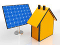 Solar panel by house showing renewable energy shows Stock Image