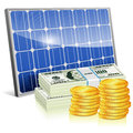 Solar panel with money save energy concept and vector on white background Royalty Free Stock Image