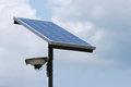 Solar panel a in the open monitored by a surveillance camera Stock Images