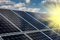 Solar panel and renewable energy power plant using with sun Stock Photos