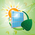 Solar panel represents earth friendly and eco indicating green energy sun Stock Image