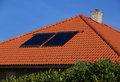 Solar panel on roof the of a private house Royalty Free Stock Photography
