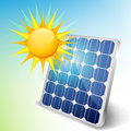 Solar panel with sun for green eco energy Stock Photo