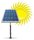 Solar panel and sun vector illustration of the Stock Photos