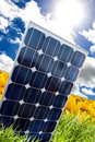 Solar panel and sunray Stock Images