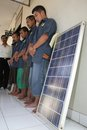Solar panel theft police officer showing stole by in boyolali police officer central java indonesia Royalty Free Stock Image