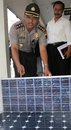 Solar panel theft police officer showing stole by in boyolali police officer central java indonesia Stock Photography