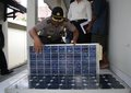 Solar panel theft police officer showing stole by in boyolali police officer central java indonesia Stock Image