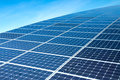 Solar panels against the deep blue sky Stock Photo