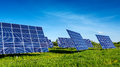 Solar panels beautiful fabulous landscapes Royalty Free Stock Photo