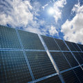Solar panels on blue sky background Royalty Free Stock Photo