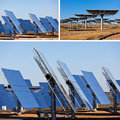 Solar panels on bright blue sky background renewable energy collage of Stock Photos