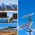 Solar panels on bright blue sky background renewable energy collage of Stock Image