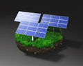 Solar panels on clod of earth three a grassy round a dark background Royalty Free Stock Photos