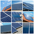 Solar panels collage Stock Photos