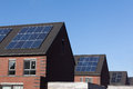 Solar panels on family houses close up of producing alternative energy Royalty Free Stock Photography