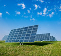 Solar panels on a field Stock Image