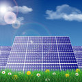 Solar panels in a field ecology concept vector illustration Royalty Free Stock Images