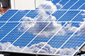 Solar panels field and roof Royalty Free Stock Photos