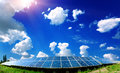 Solar panels on the field with sunny sky Royalty Free Stock Photography