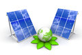 Solar panels with green world Royalty Free Stock Photo